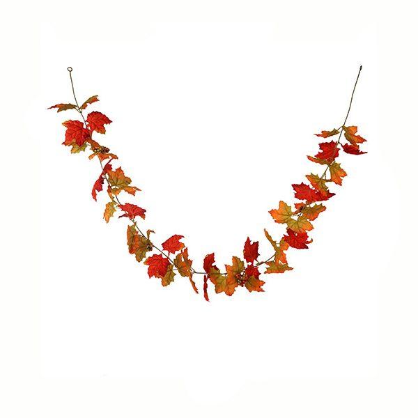 Silk Maple Leaf Garland with Berries