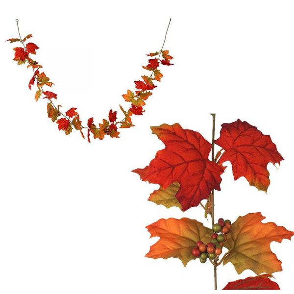 Shaded Orange 6' Silk Maple Leaf Garland w Berries. Choose shaded orange or multi color with orange, green, and red. The leaves are beautifully colored in Fall fashion.