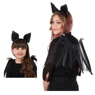 Black Fabric Flying Bat Wings or Bat Ears Headband