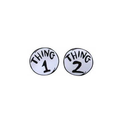 Dr Seuss Thing 1 Thing 2 Round Iron On Patch Set