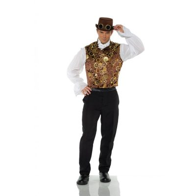 Brown Steampunk Vest with Gears