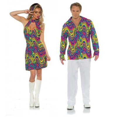 Halter Top Glow Dress and 70s Blacklight Shirt