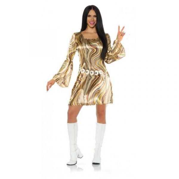 Disco Chick Brown/Gold Swirls Dress
