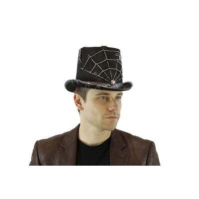 Black Sparkle Felt Silver Spider Web Top Hat