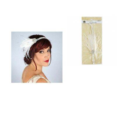 Rhinestone Trim Feather Headband