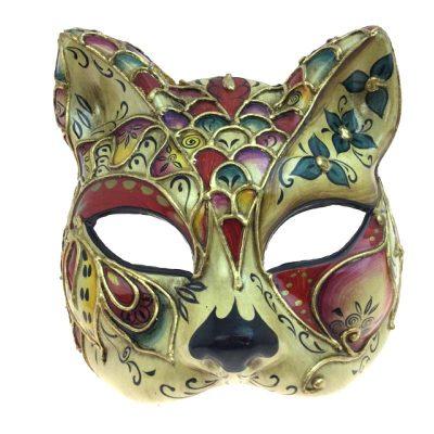 Sculptured Cat Face Venetian Mask