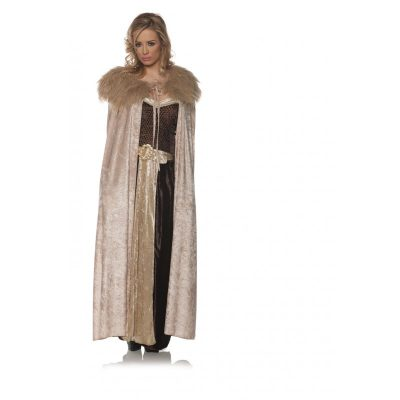 Beige Renaissance Cape with Faux Fur Collar