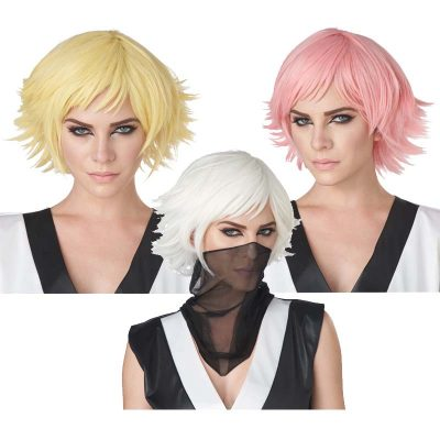 Feathered Cosplay Wigs Rose Pink, White, Yellow