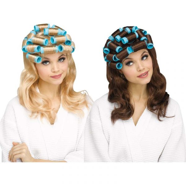 Housewife Over-sized Curlers Wig Blonde or Brunette.