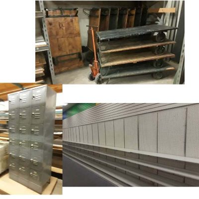 Wheeled Pallets, Wall Shelving, Personnel Lockers