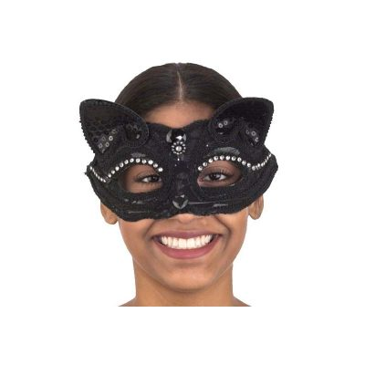Costume Trimmed Cat Face Mask w Rhinestones