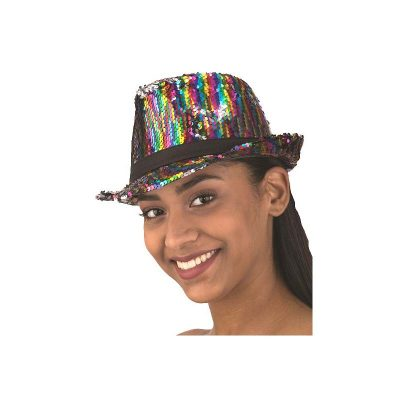 Flippable Sequin Fedora Hat