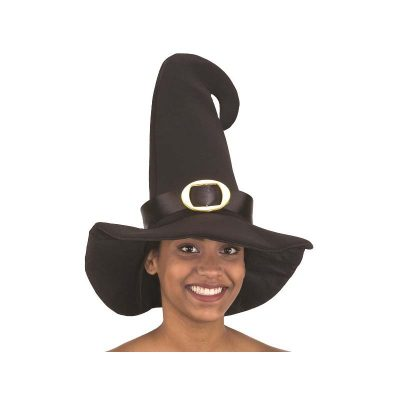Black Curved-Top Witch Hat w Buckle