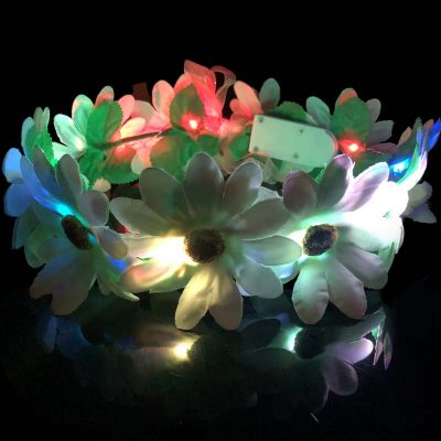 Party Light-Up Silk Flower Halo Headpiece