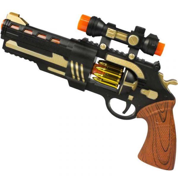 13 Inch Plastic Revolver Gun w Motion Lights Sound