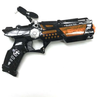 "Have fun watching this 12"" Plastic Space Gun with Motion Lights Sound when you pull its trigger! It features the super sound light electronic series!"
