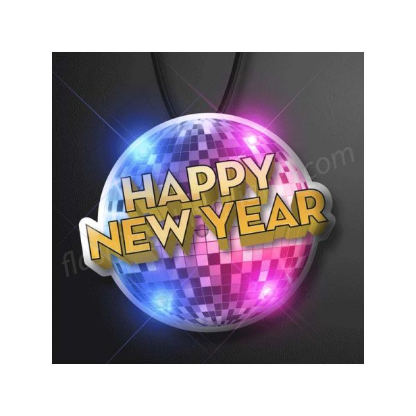 Light-up Happy New Year Mirror Ball Necklace