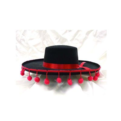Black Felt Wide Brim Hat w Red Pom Pom Fringe