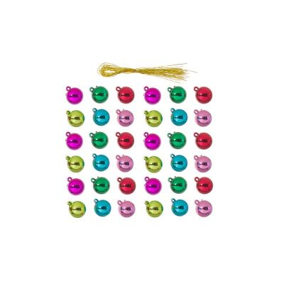 15mm Metallic Plastic Ball Ornaments - Assorted Colors