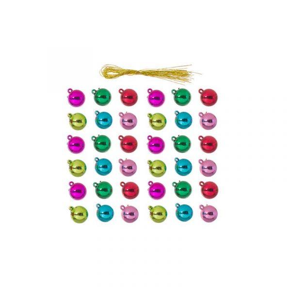 15mm Metallic Plastic Ball Ornaments - Assorted Colors