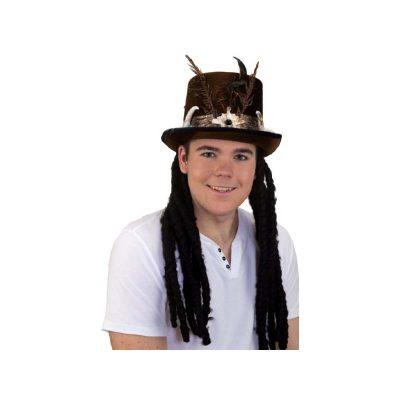 Velvet Fabric Voodoo Hat w Dreadlocks