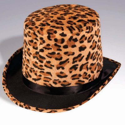 Plush Felt Leopard Print Top Hat
