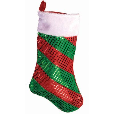 18 Inch Sequin Striped Christmas Stocking