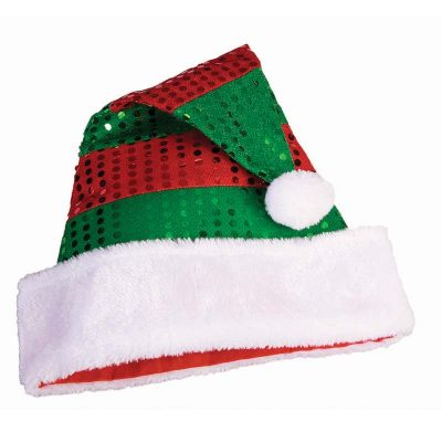Sequin Striped Fabric Santa Hat