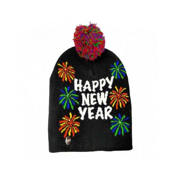 Happy New Year Light-up Fireworks Knit Hat