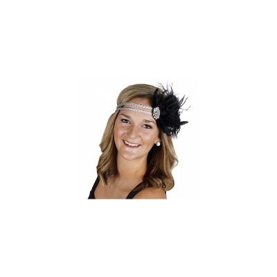 Mixed Feather Elastic Flapper Headband w Rhinestones