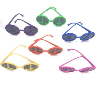 Solid Neon Color Peace Sign Sunglasses