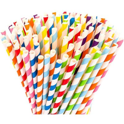 Colorful Striped Paper Straws