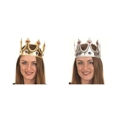 Gold and Silver Lamé Jeweled Fabric Adult Crowns