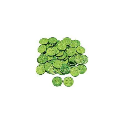 St Patrick's Coins - Metallic Plastic Four-Leaf Clover Coins