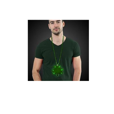 Jumbo Green Shamrock Light-Up Round Bead Necklace