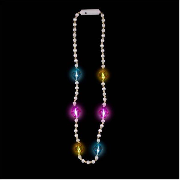 Light-up Diamonds Pearl Bead Necklace