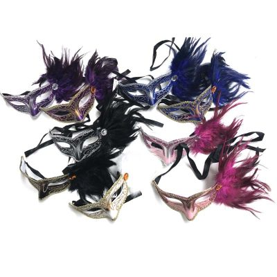 Costume Glittered Venetian Half Mask w Side Feathers