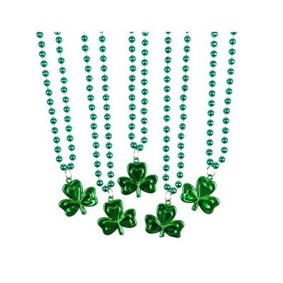 Metallic Green Round Bead Necklace w Shamrock