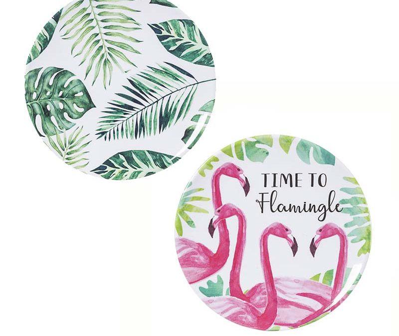 7 Inch Round Melamine Tropical Luau Plate