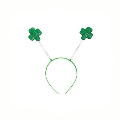 Green Glittered Shamrock Head Boppers