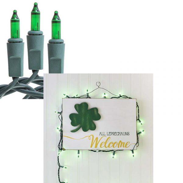 50 Electric Light Set - Green Bulbs Green Wire