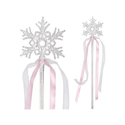 Silver Plastic Plated Snowflake Wand w Ribbons