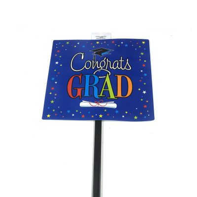 Congrats Grad Star Blue Yard Sign