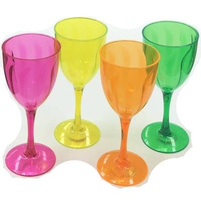 8 Inch Translucent Plastic Wine Goblet Glass