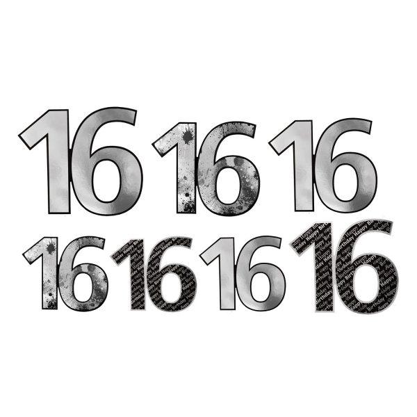 Foil Number 16 Cutouts