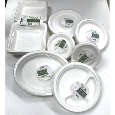 Eco-Friendly Molded Fiber Plates, Bowls, and Takeout containers