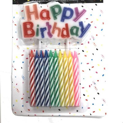 Swirl Candles w HAPPY BIRTHDAY Pick Set