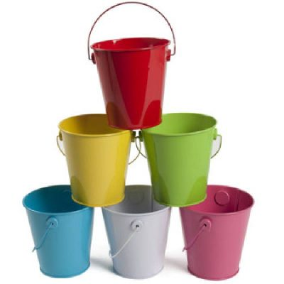 Metal Pail Container w Handle