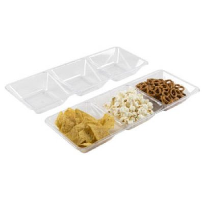 "Clear Plastic 16"", 3-compartment serving tray"