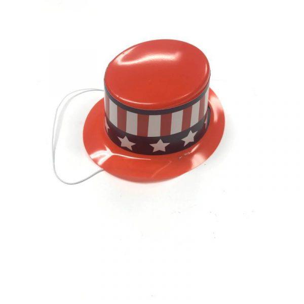 Patriotic Plastic Mini Top Hat w Strap